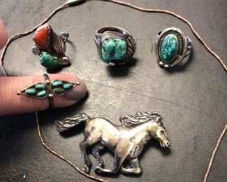 Sterling silver and turquois jewelry