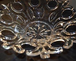 Signed Detailed Ornate Glass Bowl