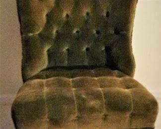 Olive Green Velour Upholstered Chair (2)