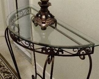 Wrought iron Half Moon Table with Glass Top