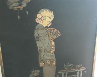 Intriguing Asian Art on Silk - signed.