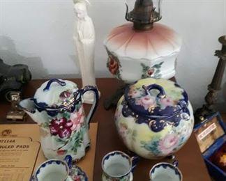 Antique Gas Lamp, Tea Set