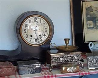 Metal Trinket Boxes / Antique Clock