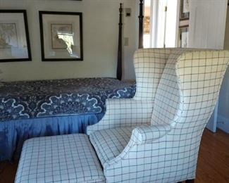 Wing chair and ottoman / Cowtan and Tout fabric