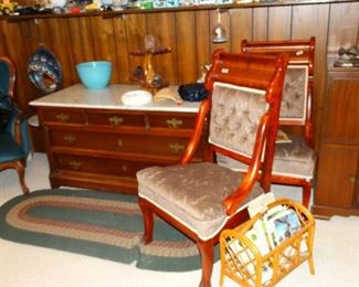 Victorian Chairs and Low Chest