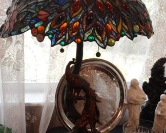 Contemporary Stain Glass Peacock Base Lamp.
