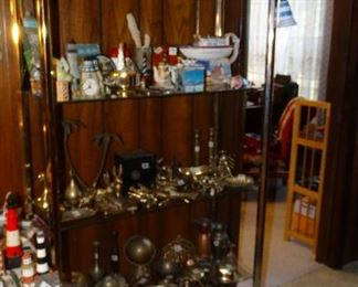 Brass Finish Etagere with Nautical Collectibles, Brass Figures,