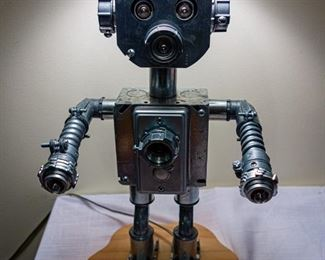 Adorable and unusual robot lamp, perfect for  child's room. Silent Auction.