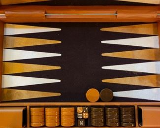 Gorgeous, large backgammon set in leather case. Silent Auction.