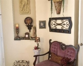 Antique Victorian Velvet & Carved Wood Parlor Settee w/Front Casters - $175 (36W  23D  37H at back)