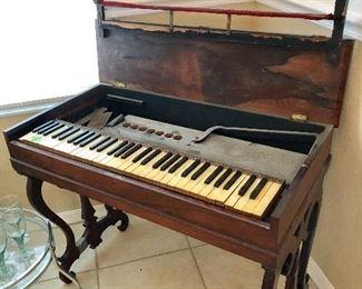 Antique Petite Rosewood Melodeon (Needs Restoration) - $125  (36-1/2W  19D  29H)