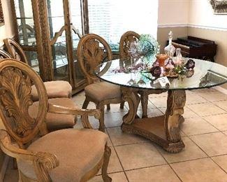 54-Inch Round Glass-top Pedestal Dining Table w/5 Chairs - $550