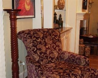Fine Carved Stand, pretty oversized sitting chair and art deco poster (repro)