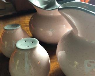Retro mid century pink and grey creamer pitcher s&p