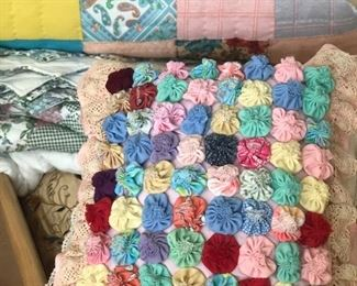 Vintage Yo Yo handmade pillows and quilted blankets