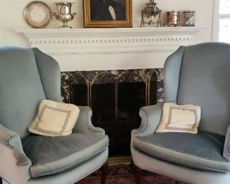 WINGBACK CHAIRS, OIL PORTRAIT
