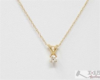 """240: 14k Diamond Necklace, 1.1g Weighs approx 1.1g, Measures approx 18"""""""