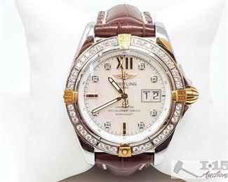 500: Breitling Diamond Wrist Watch Measures approx 42mm Watch does tick. Markings on back B49350, 935703