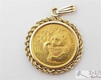 1005: .999 Half Ounce Panda Coin in 14k Gold Pendant .999 Half Ounce Panda Coin in 14k Gold Pendant