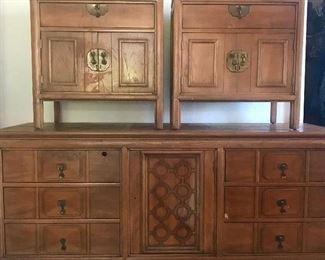 Pecan dresser and 2 night stands