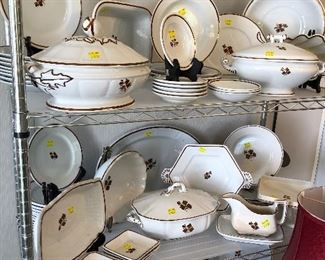 Tea Leaf ironstone large tureens, platters, gravy boats, berry bowls, serving bowls
