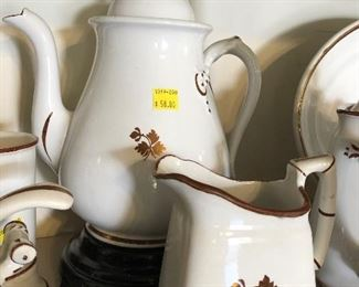 Tea Leaf ironstone coffee pot and cream pitcher