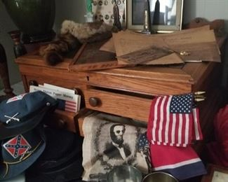 Antique oak spool chest and reproduction Civil War items