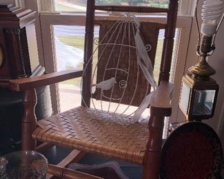 Antique Child's rocking chair and home decor