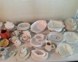 Large assortment of bakeware and tea pots - prices vary