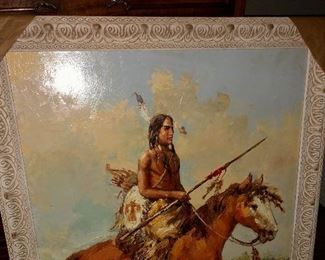 Painting, Indian warrior on horseback