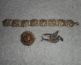 Filligree Bracelet and Bird Brooch