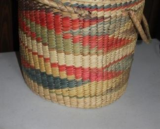 Colorfully woven basket
