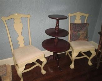 PR. BALL & CLAW FOOTED CHAIRS AND 3 TIERED PEDESTAL TABLE
