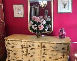 Bow front dresser, with raised Asian scenery on drawers, have matching king size headboard and end table