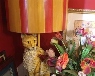 Cat lamp with Red bird Finial