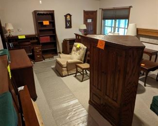 Solid wood furniture- Bedroom sets, end tables, chairs, bookcases, roll-down secretary desk