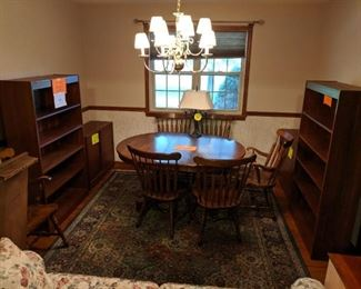 Dining room table and chairs, sleeper sofa, bookshelves, corner cabinet, TV cabinet