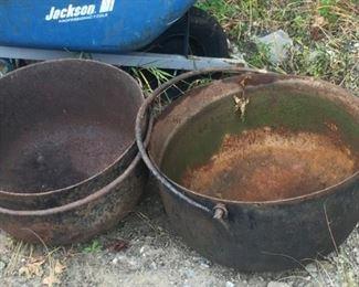 2 late 1800's cauldron
