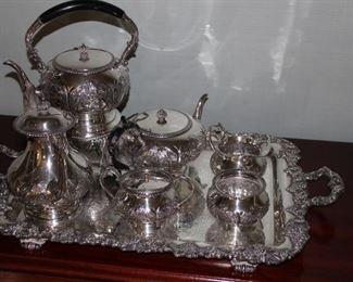 complete sterling tea set excluding tray which is silverplate and a different pattern made by Dunham