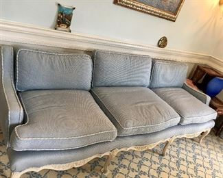 Beautiful Robins egg blue French sofa Carved wood frame