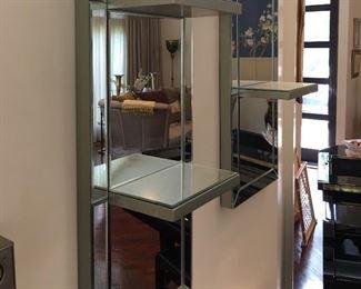 Mirrored wall shelves
