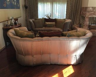 Pair of custom sofas and pillows in excellent condition.