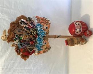 Asian Kokeshi Doll Wood and Ceramic Red Ninjas, Bamboo Collage (4pcs) https://ctbids.com/#!/description/share/255258