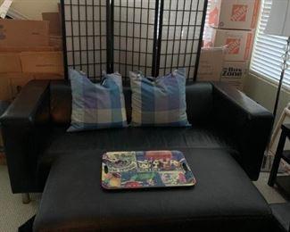 IKEA leather sofa, leather table