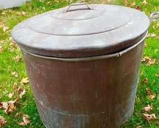 Large copper boiler can and lid, 2 available