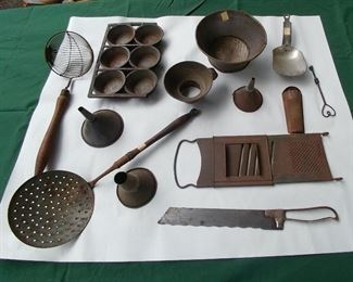 Selection of early tinware