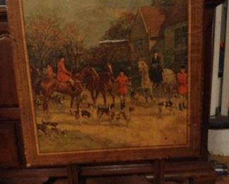 Vintage fox hunt scene card table, 2 available