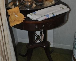 drum table and tea set