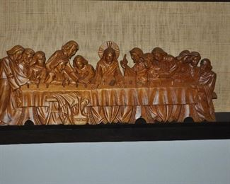 Carved last supper (wood?)