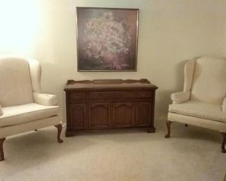 Cabinet phonograph WORKS 2 wing back chairs GOOD